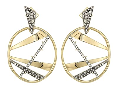 Alexis Bittar Crystal Encrusted Plaid Dangling Post Earrings (10K Gold/Antique Rhodium Accents) Earring