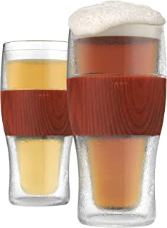 HOST FREEZE Cooling Cups (set of 2) in Wood Beer Chilling Drinkware