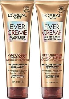 L'Oréal Paris Hair Care EverCreme Sulfate Free Shampoo & Conditioner Kit, Nourishes + Moisturizes, With Apricot Oil, For D...