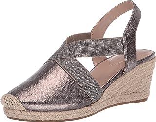 Bandolino Footwear Women's Espadrille Wedge Sandal, Pewter, 9.5 M