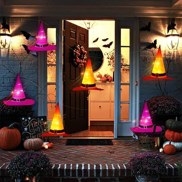 ORIENTAL CHERRY Halloween Lights 6PCS IP67 Waterproof Hanging Witch Hat String Lights Luminaries Halloween Decorations Outdoor For Porch Patio Pathway Garden Gate Yard Birthday Party