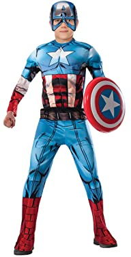 Marvel Avengers Assemble Captain America Deluxe Muscle-Chest Costume, Small