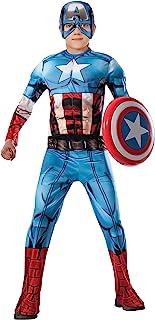 Avengers - Disfraz de Capitan America Premium para niño, 5-