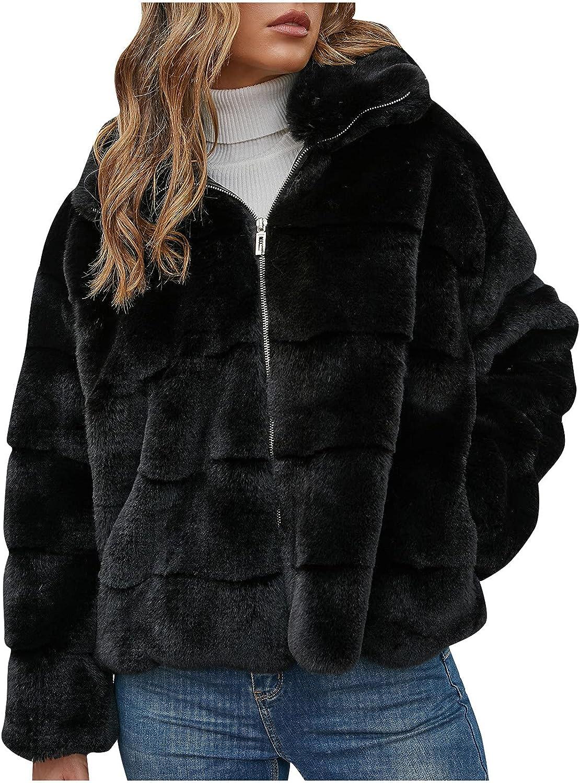 Women Faux Fur Coat Long Sleeve Zipper Winter JacketLapel Collar Coat Outerwear Fleece Short Jacket Furry Overcoat