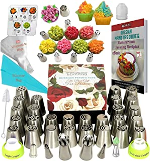K&S Artisan Russian Piping Tips Deluxe Cake Decorating Nozzles 33 Genuine Icing Nozzles - 2 Ball Tips 2 Leaf Tips 30 Frosting Bag 3 Couplers for Cake-Decorating Baking Cupcake Cookies Supplies Kit