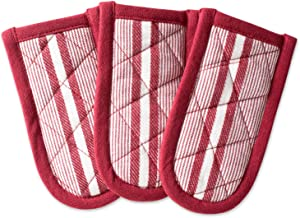 طقم من 3 قطع من DII مصنوع من القطن، قابل للغسل في الغسالة ومقاوم للحرارة للاستخدام اليومي في المطبخ أو الخبز - أحمر