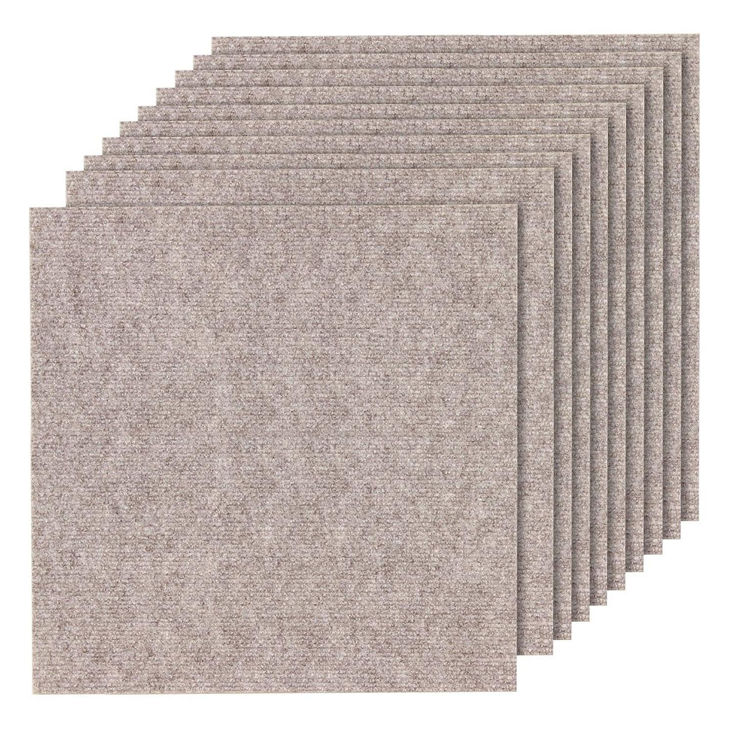 解明増強数学者山五 滑り止め 吸着加工 洗えるカーペット 薄手 大判タイプ ベージュ色 10枚入り 50×50cm