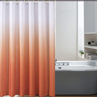 Bermino Textured Fabric Bath Shower Curtain - Ombre Shower Curtains for Bathroom with 12 Hooks, 70 x 72 inch, Orange Gradient