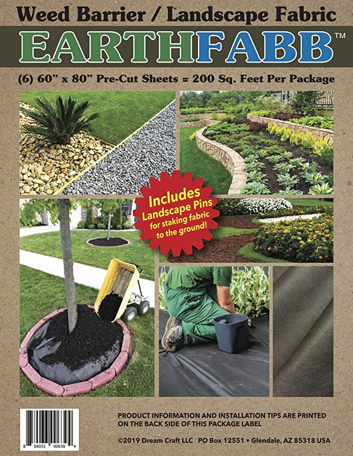 EARTHFABB Weed Barrier/Landscape Fabric - Package Includes Landscape Pins for Staking Fabric to The Ground ((6) 60