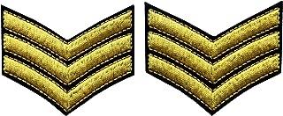 Uniforme Militar Chevrons Sargento Rayas Ejército Embroidered Arms Emblem Hierro En Coser En El Parche De Hombro, Oro, 2 Pcs