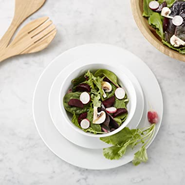 Amazon Basics 18-Piece Kitchen Dinnerware Set, Dishes, Bowls, Service for 6, White