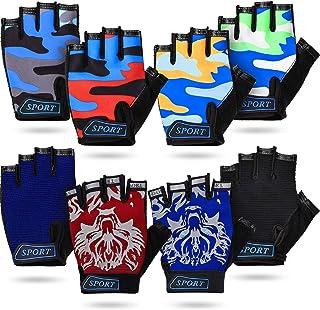 8 جفت دستکش نیمه انگشتی بچه گانه دستکش دوچرخه بدون انگشت دستکش انگشتی کوتاه کودکان قابل تنفس دستکش ورزشی در فضای باز بدون لغزش برای کودکان دوچرخه سواری کوهنوردی ، 8 رنگ