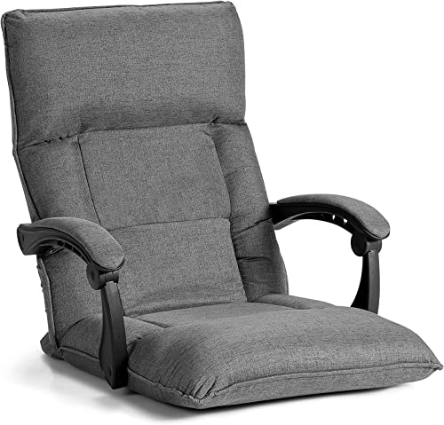 new arrival Giantex wholesale Adjustable Floor Chair popular Lazy Sofa Chair 14-Position Adjusting Backrest Headrest, Floor Seating with Armrests, Padded Comfy Recliner for Home Living Room Bedroom (Gray) outlet online sale
