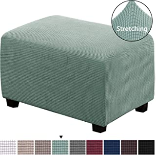 H.VERSAILTEX Ottoman Slipcovers Stretch Footstool Protector Covers Rectangle Folding Storage Form Fitted Skid Resistance Machine Washable Ottoman Protect Footrest Covers(Sage Pattern, X-Large)