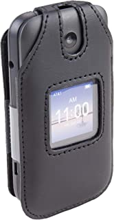 Fitted Leather Case for Alcatel Smartflip/Alcatel Go Flip 3, Features: Rotating Belt Clip, Screen & Keypad Protection, Sec...
