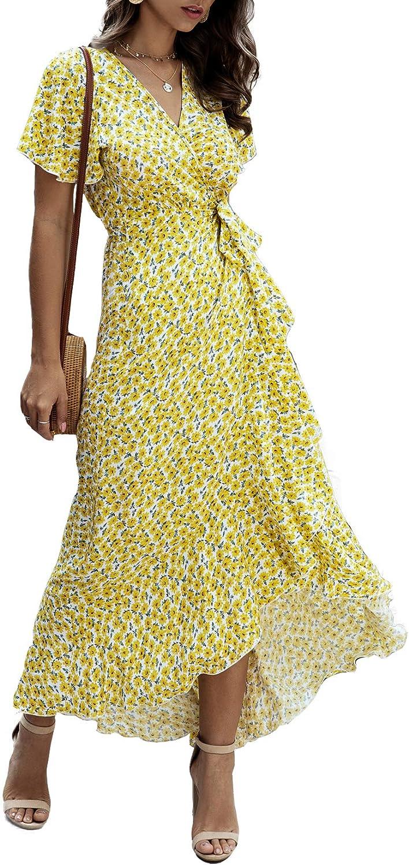 Alelly Women Wrap Maxi Dress Split Flowy Long Cocktail Dress Boho Polka Dot Summer Dresses