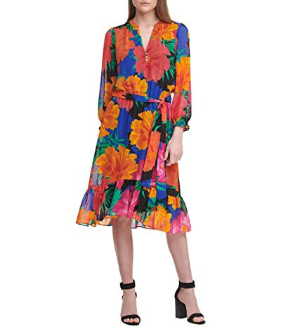 Calvin Klein Long Sleeve Dress w/ Ruffle Hem and Belt