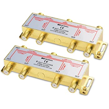 Cable Matters 2-Pack Bi-Directional 2.4 Ghz 6 Way Coaxial Cable Splitter for STB TV, Antenna and MoCA Network - All Port Power Passing - Gold Plated and Corrosion Resistant