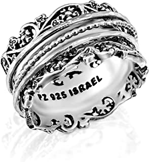 PZ Paz Creations .925 Sterling Silver Spinner Ring with Silver Spinners, Made in Israel