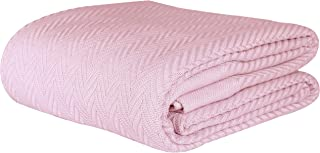 Threadmill Home Linen Herringbone Soft Breathable 100% Cotton Blanket King Size English Rose