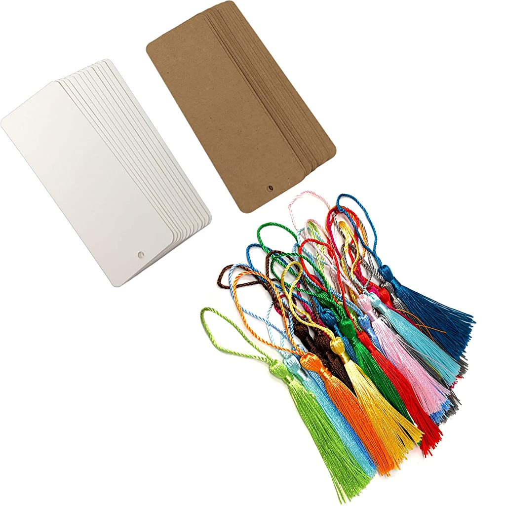 Rusoji 24pcs Blank White and Brown Kraft Paper Cardstock Bookmarks with Colorful Tassels for DIY Art Projects, School Supply, Crafts, Stationery, Tags for Gifts, 5.5 x 2 inch