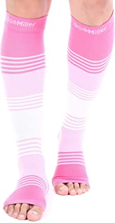 Doc Miller Premium Open Toe Compression Sleeve Dress Series 1 Pair 20-30mmHg Strong Support Graduated Sock Pressure Sports Running Recovery Shin Splints Varicose Veins (PinkPinkWhite, X-Large)