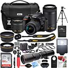 Nikon D5600 24.2MP DX-Format DSLR Camera with AF-P 18-55mm VR & 70-300mm ED Lens Kit Bundle with 500mm Preset Telephoto Lens for T-Mount, 64GB Memory Card and Accessories (22 Items)