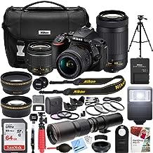 Nikon D5600 24.2 MP DSLR Camera with AF-P DX 18-55mm f/3.5-5.6G VR and 70-300mm f/4.5-6.3G ED Dual Zoom Lens Kit + 500mm Preset f/8 Telephoto Lens + 0.43x Wide Angle, 2.2X Pro Bundle