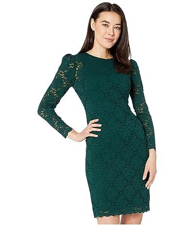 LAUREN Ralph Lauren Petite Scalloped Lace Dress (Dark Fern) Women