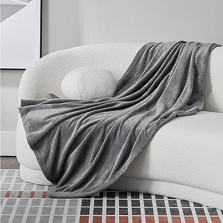 BEDSURE Plaid Canape Couverture Polaire - Jete de Canape Gris 150x200, Plaid Canapé Flanelle 2 Personnes Doux et Chaude