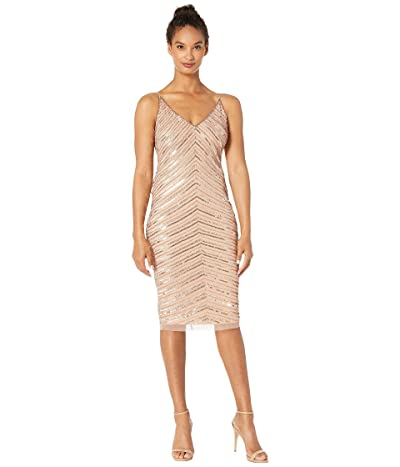 Adrianna Papell Short Beaded Dress with Crystal Beading (Rose Gold) Women