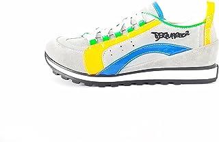 Dsquared Sneakers Ragazzo Grigio e Arancio Fluo 35