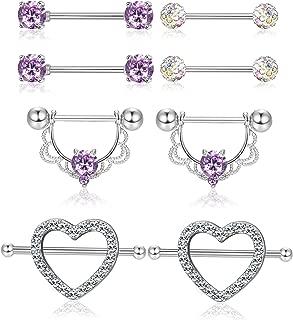 4 Pairs 14G Stainless Steel Nipplerings Nipple Tongue Rings CZ Opal Barbell Body Piercing Jewelry