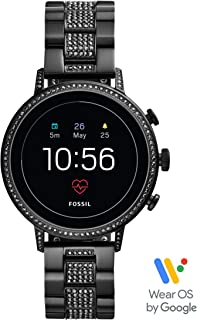 Fossil Women's Gen 4 Venture HR Heart Rate Stainless Steel Touchscreen Smartwatch, Color: Black (FTW6023)