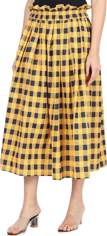 Mikraa High Waist Elastic Plaid Skirt – A Line Midi with Pockets for Women