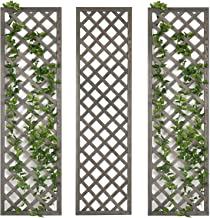 MyGift Rustic Grey Wood Lattice Design Garden Trellis, Set of 3