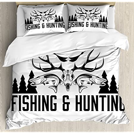 Amazon Com Ambesonne Hunting Duvet Cover Set Deer Hunter S Club Logo Design Antlers Retro Typography Shabby Style Decorative 2 Piece Bedding Set With 1 Pillow Sham Twin Size Navy Blue White Home
