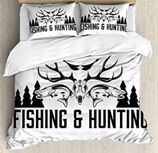 Ambesonne Hunting Duvet Cover Set, Hunting and Fishing in Vintage Emblem Design Antler Horns Mallard Pine Tree, Decorative 3 Piece Bedding Set with 2 Pillow Shams, Queen Size, White Black