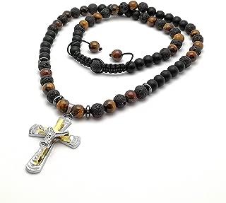 Collar con colgante cruz Jesús ónix lava ojos de tigre cuentas joyería color oro