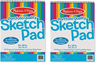 """Melissa & Doug Sketch Pad, Arts & Crafts, Fade-Resistant, Acid-Free White Paper, 50 Sheets, 2-Pack, 9"""" W x 12"""" L"""