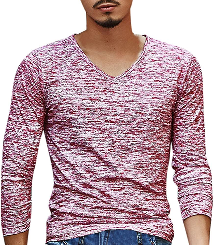 JSPOYOU Mens Fashion T Shirts Long Sleeve Basic Designed Top Big and Tall Casual Slim Fit Workout Moisture Wicking Blouse