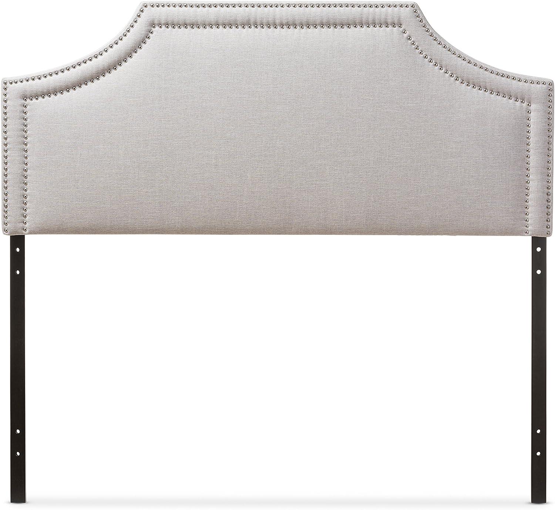 Baxton Studio Guilford Fabric Upholstered Headboard, Full, Greyish Beige