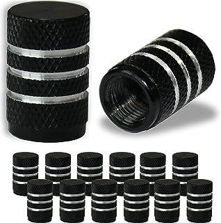 JUSTTOP Car Tire Valve Stem Caps, Air Caps Cover, Universal for Cars, SUVs, Bike, Trucks and Motorcycles, 12pcs-Black
