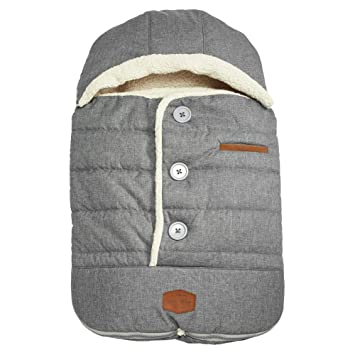 JJ Cole - Urban Bundleme, Canopy Style Bunting Bag to Protect Baby from Cold & Winter Weather in Car Seats & Strollers, Graphite, Infant, Grey: image