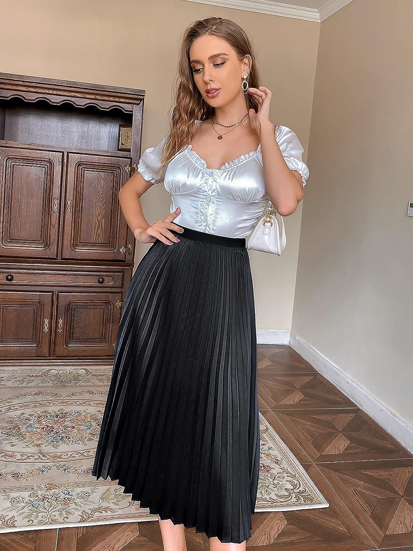 Verdusa Women's Midi Pleated Skirt Elegant High Waist Solid A Line Skirt