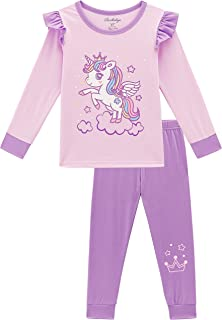 Girls Pajamas, Glow-in-The-Dark Unicorn Mermaid Pjs for Kids