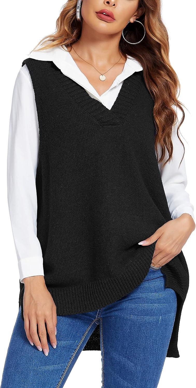 Beyove Women's Pullover Sweater Vest Oversized V Neck Sleeveless Sweater Soft Knitted Vest Knitwear Tank Top