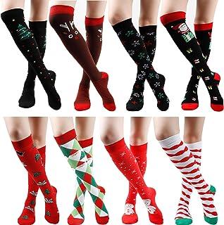 Gnpolo Womens Black Graduated Compression Socks 8 Packs Athletic Running Nurse Stockings