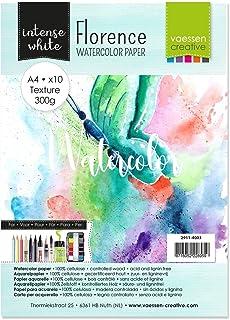 VARTA Vaessen Creative Florence Watercolour Paper A4, 300 GSM, Artist Grade Quality, Textured Surface, 10 Sheets for Paint...