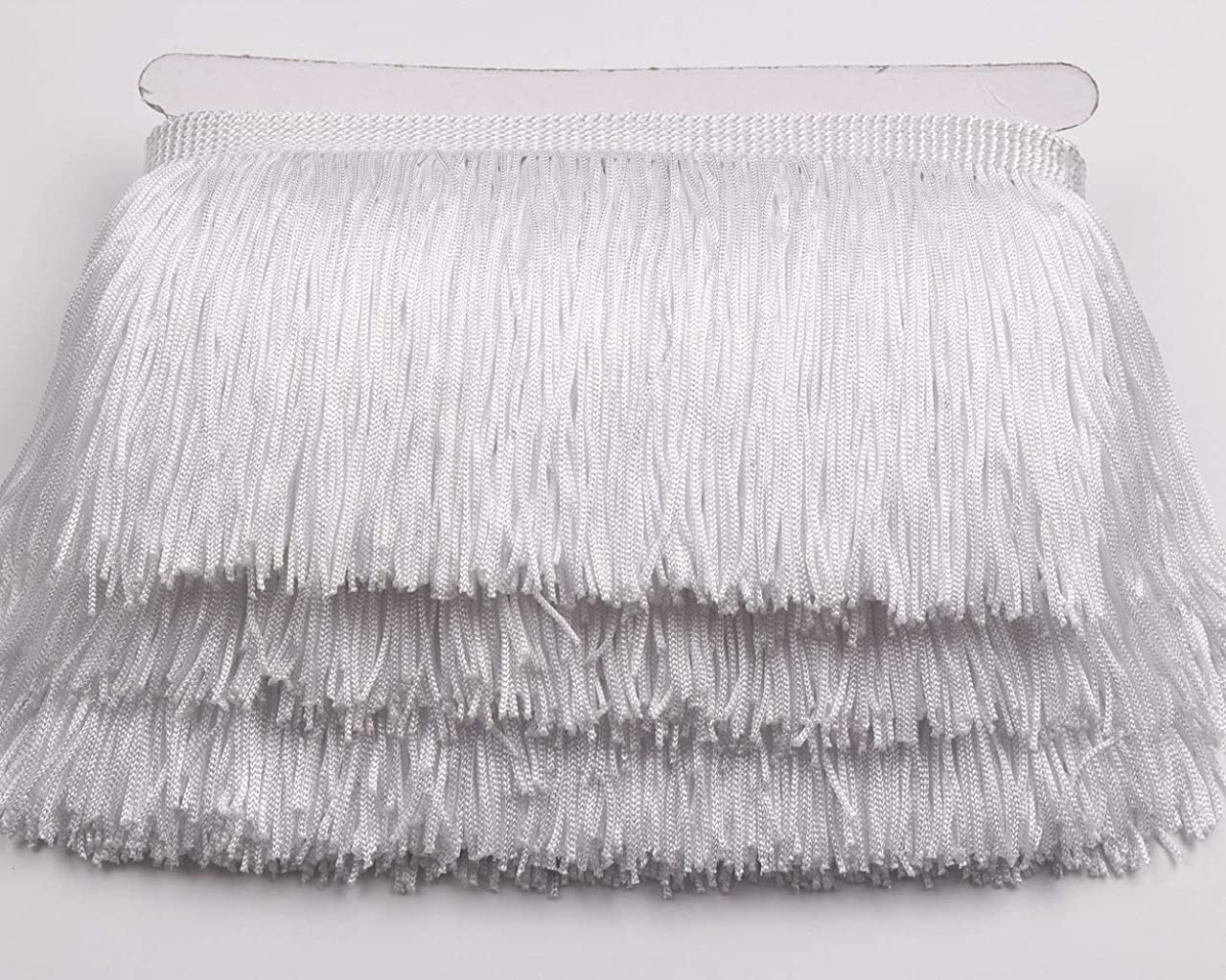 Heartwish268 Fringe Trim Lace Polyerter Fibre Tassel 4inch(″) Wide 10 Yards Long for Clothes Accessories and Latin Wedding Dress and DIY Lamp Shade Decoration Black (White)